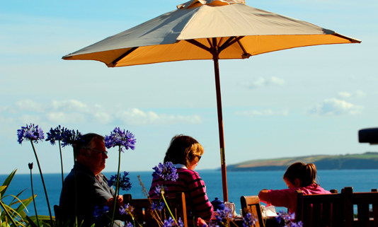 The two-rosette Quarterdeck restaurant at The Nare has a spectacular position overlooking Gerrans Bay and Nare Head.